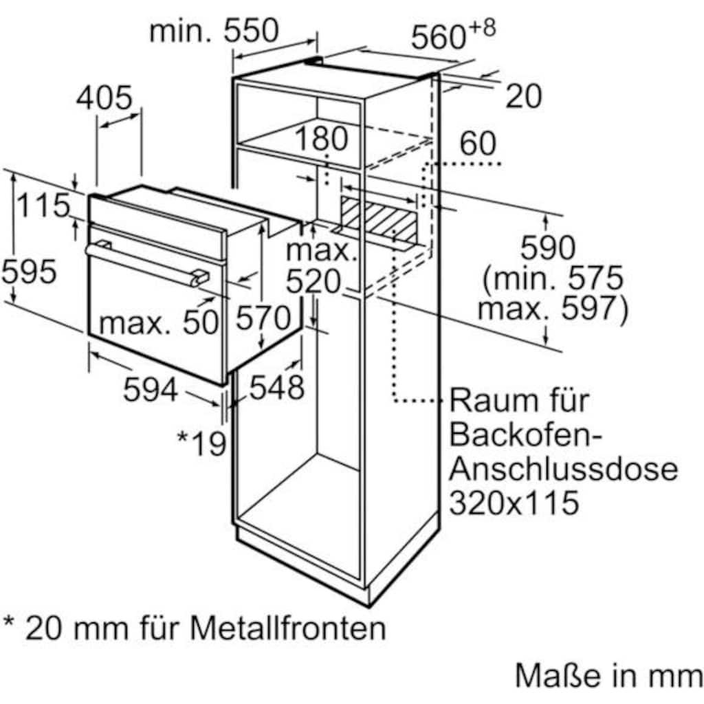 BOSCH Einbaubackofen »HBF133BR0«, Serie 2, HBF133BR0, mit Teleskopauszug nachrüstbar, ecoClean Direct