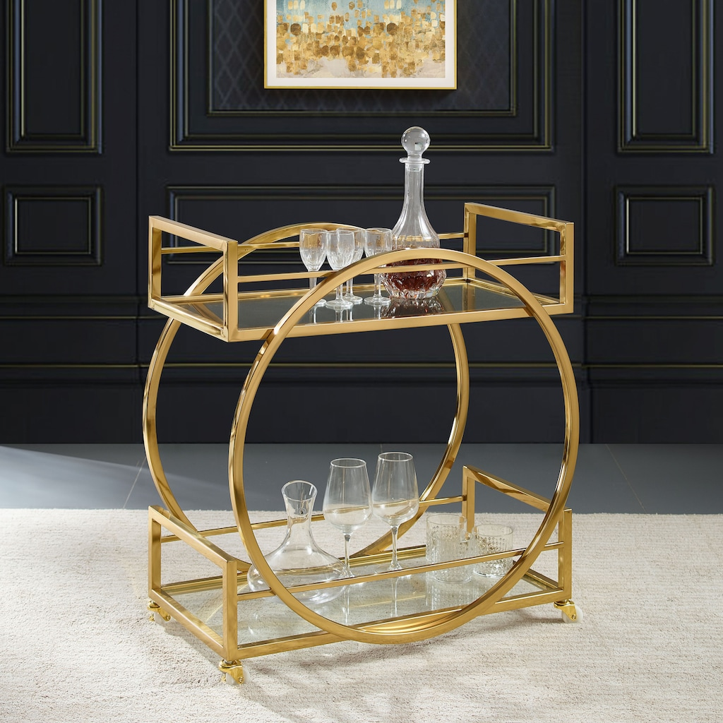 Leonique Servierwagen »Morren«, Zeitloses Design, Edelstahl