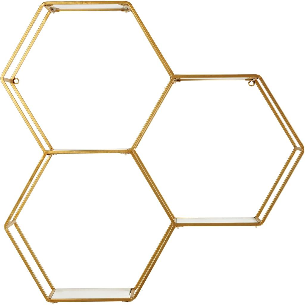 Leonique Wandregal »Lenia«, Dekoregal, Wanddeko, aus Metall, bestehend aus drei sechseckigen Elementen
