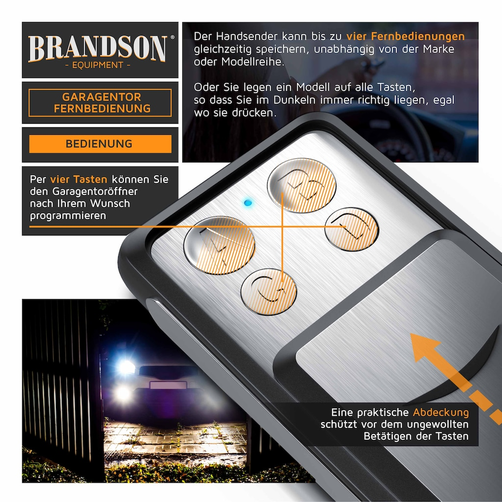 Brandson Fernbedienung »Universal Fernbedienung für das Garagentor«, 433 MHz mit Abdeckung