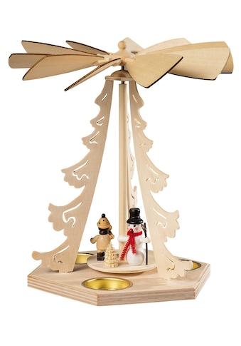 SAICO Original Tischpyramide Winterkind mit Schneemann für 3 Teelichte kaufen