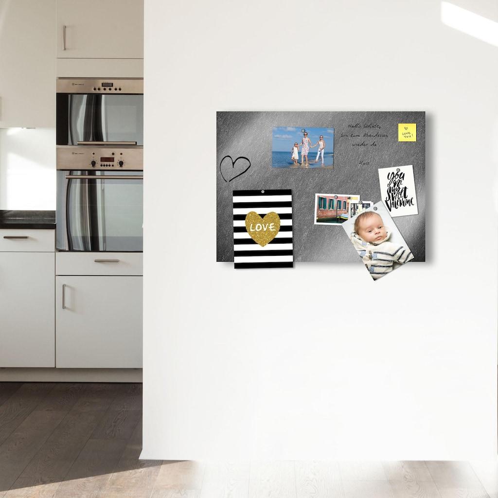 Home affaire Magnettafel »Schiefer«, Memoboard, aus Glas, Schiefer Motiv