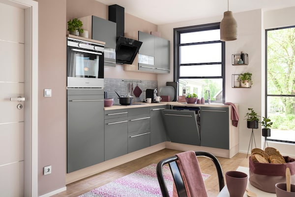 moderne Eckküche in mattem Grau