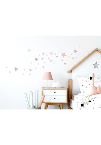 little DECO Wandtattoo »Little Deco Wandtattoo 60 Sterne rosa grau« kaufen