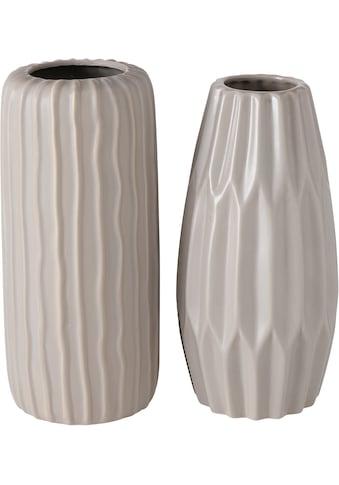 BOLTZE Tischvase »Aquarel«, aus Steingut, Höhe ca. 24,5 cm + 25,5 cm kaufen