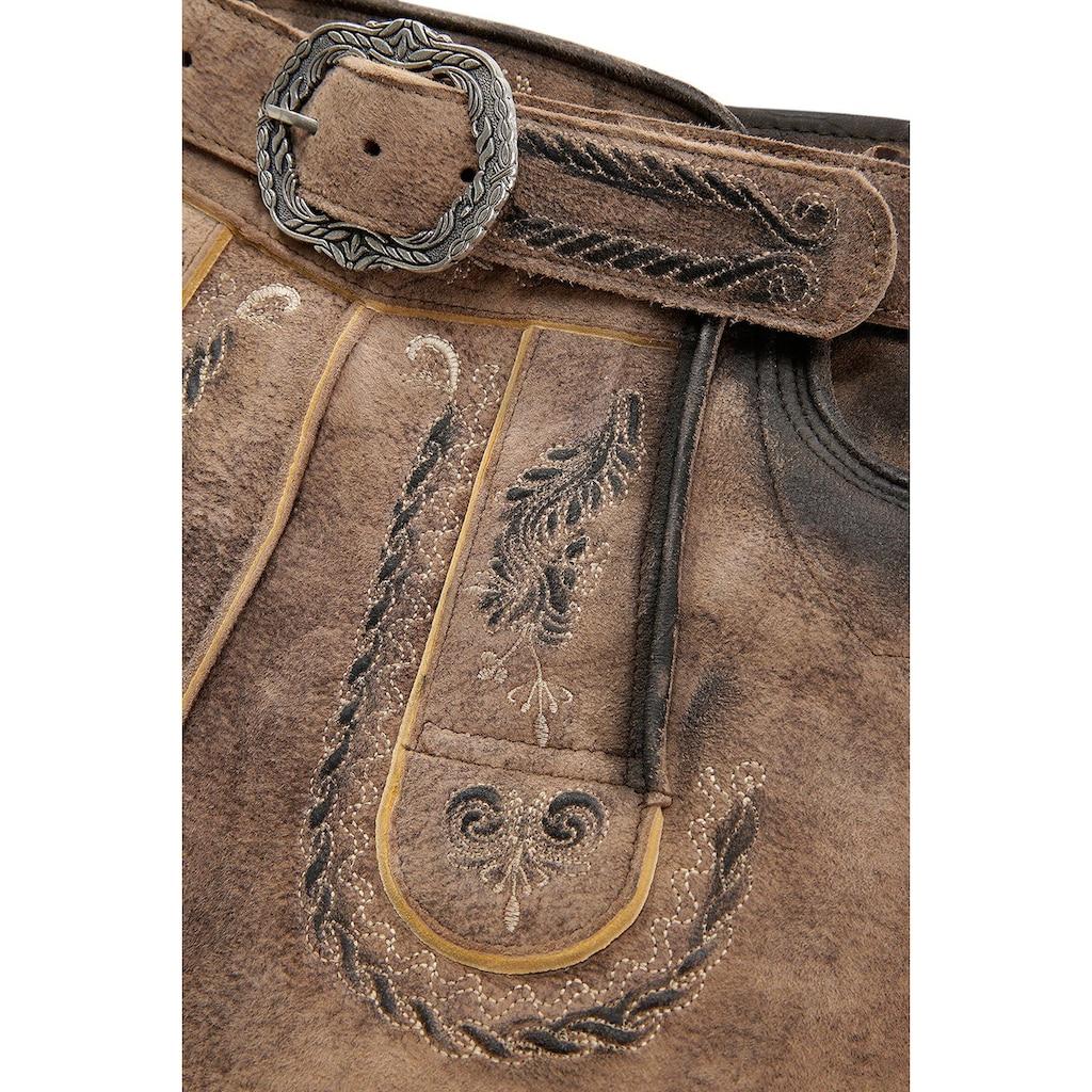 MarJo Trachtenlederhose, (2 tlg., mit Gürtel), mit dekorativer Gürtelschnalle