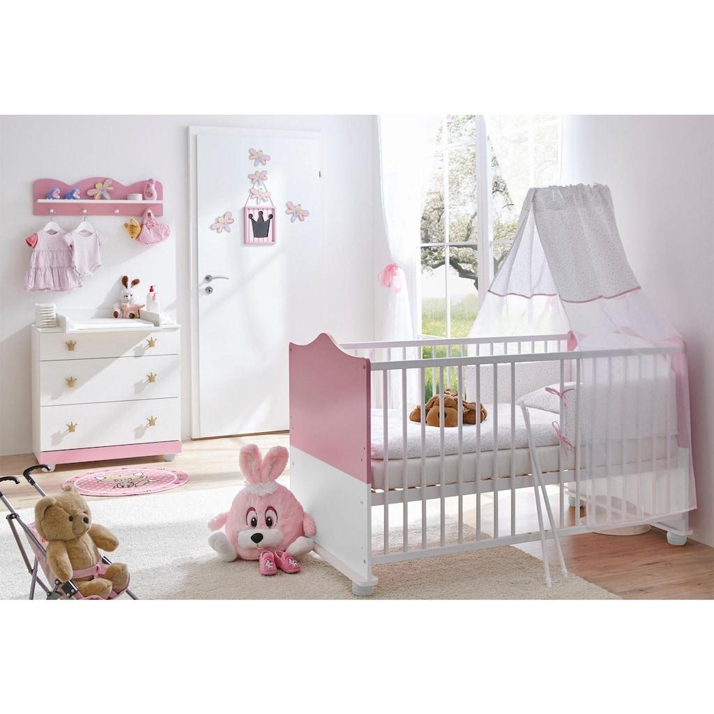 Ticaa Babymöbel-Set »Prinz/Prinzessin«, (Set, 3 St.), Bett + Wickelkommode + Wandregal
