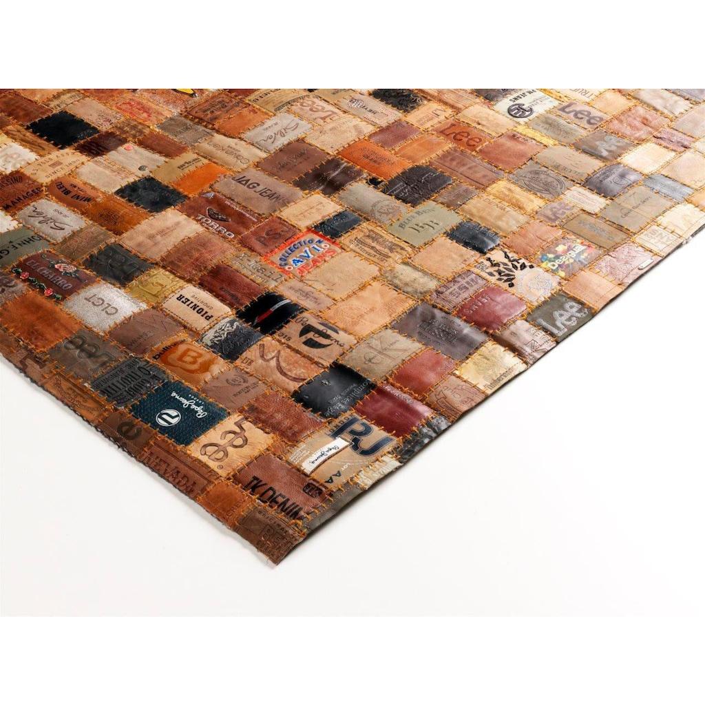 OCI DIE TEPPICHMARKE Lederteppich »Labelstar«, rechteckig, 3 mm Höhe, echtes Leder im Patchwork Design, Wohnzimmer