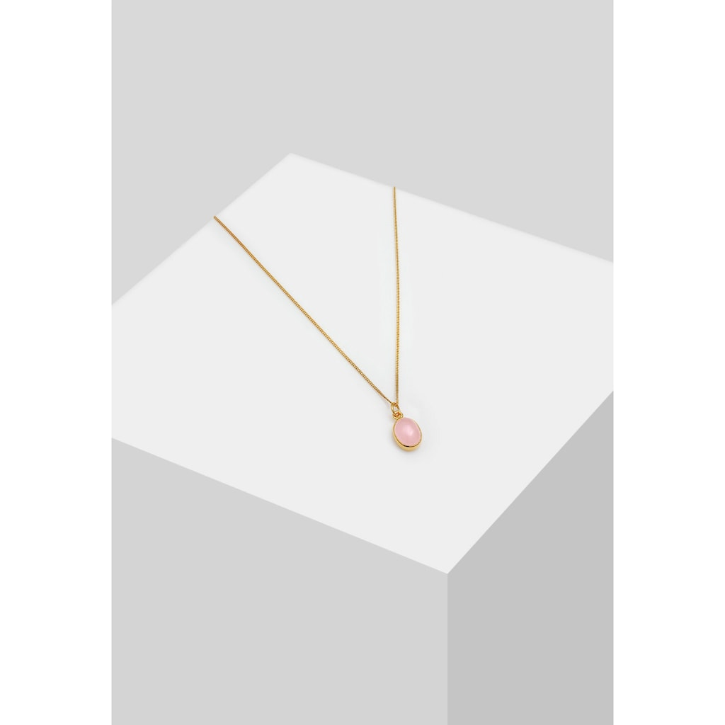 Elli Collierkettchen »Anhänger Rosenquarz Rosa Oval 925 Silber«