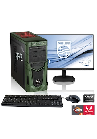 "Hyrican PC Ryzen 5 3400G, Radeon RX Vega 11 + 61 cm (24"") TFT »Multimedia PC SET1898« kaufen"