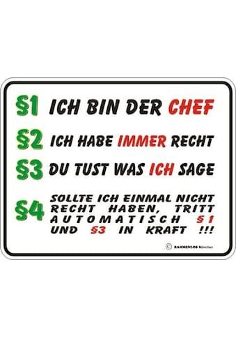 Rahmenlos Blechschild mit witzigem Chef - Spruch kaufen