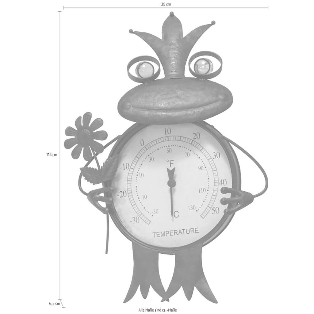 Schneider Gartenfigur »Frosch«, (1 St.), Thermometer, Rost