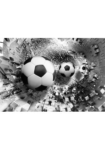 Consalnet Vliestapete »Fußbälle in 3D Puzzle«, verschiedene Motivgrößen, für das Büro oder Wohnzimmer kaufen