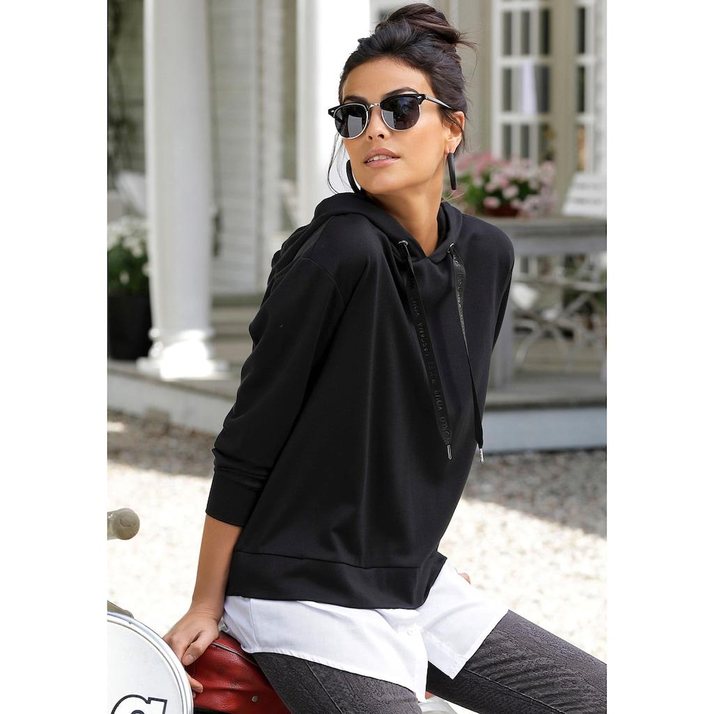 LASCANA Kapuzenshirt, mit abnehmbaren Bluseneinsatz am Saum
