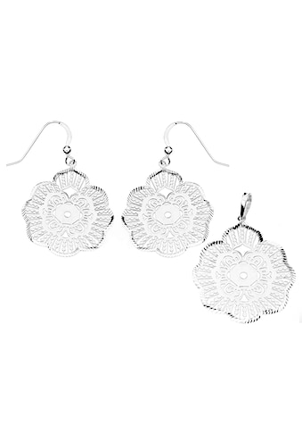 Firetti Schmuckset »Blume mit Ornament und geriffeltem Rand, Glanz, diamantiert« kaufen
