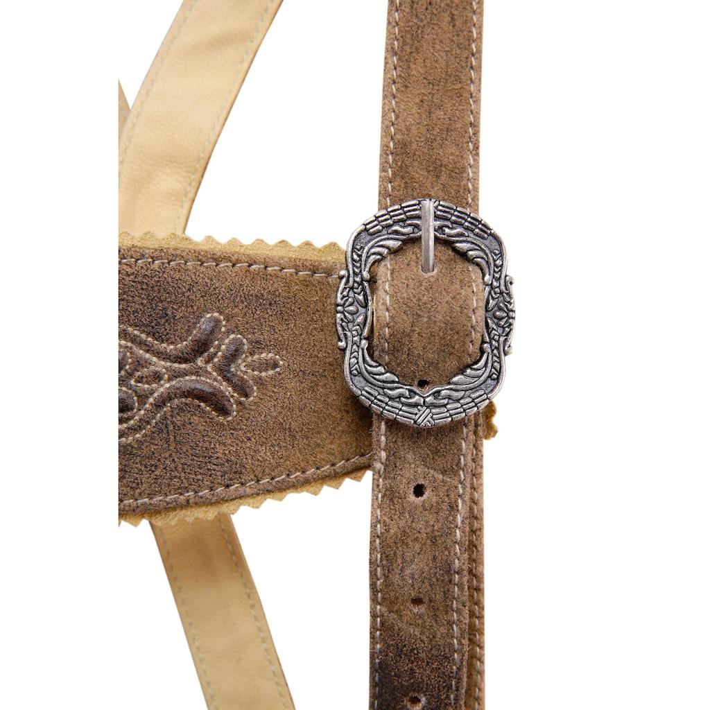 Country Line Trachtenlederhose, (3 tlg., mit Gürtel-mit Hosenträgern), Kinder mit Stickerei