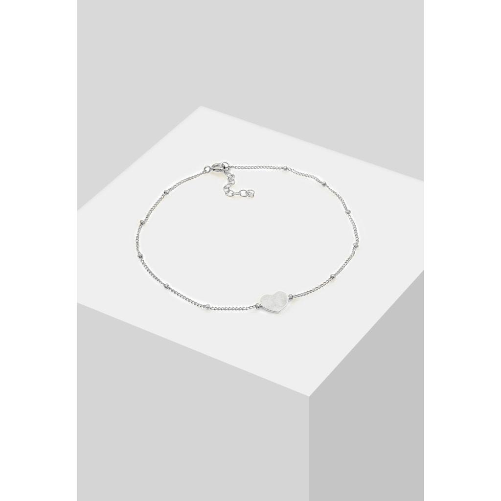 Elli Fußkette »Herzchen Kugelkette Verspielt Sommer 925 Silber«
