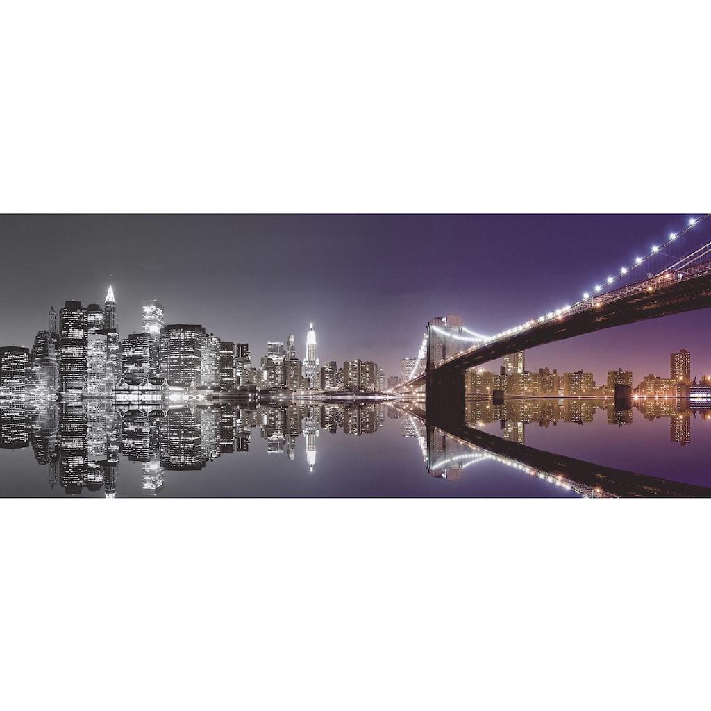 Home affaire Glasbild »Mike Liu: N. Y. Skyline und nächtliche Reflektion«, 125/50 cm