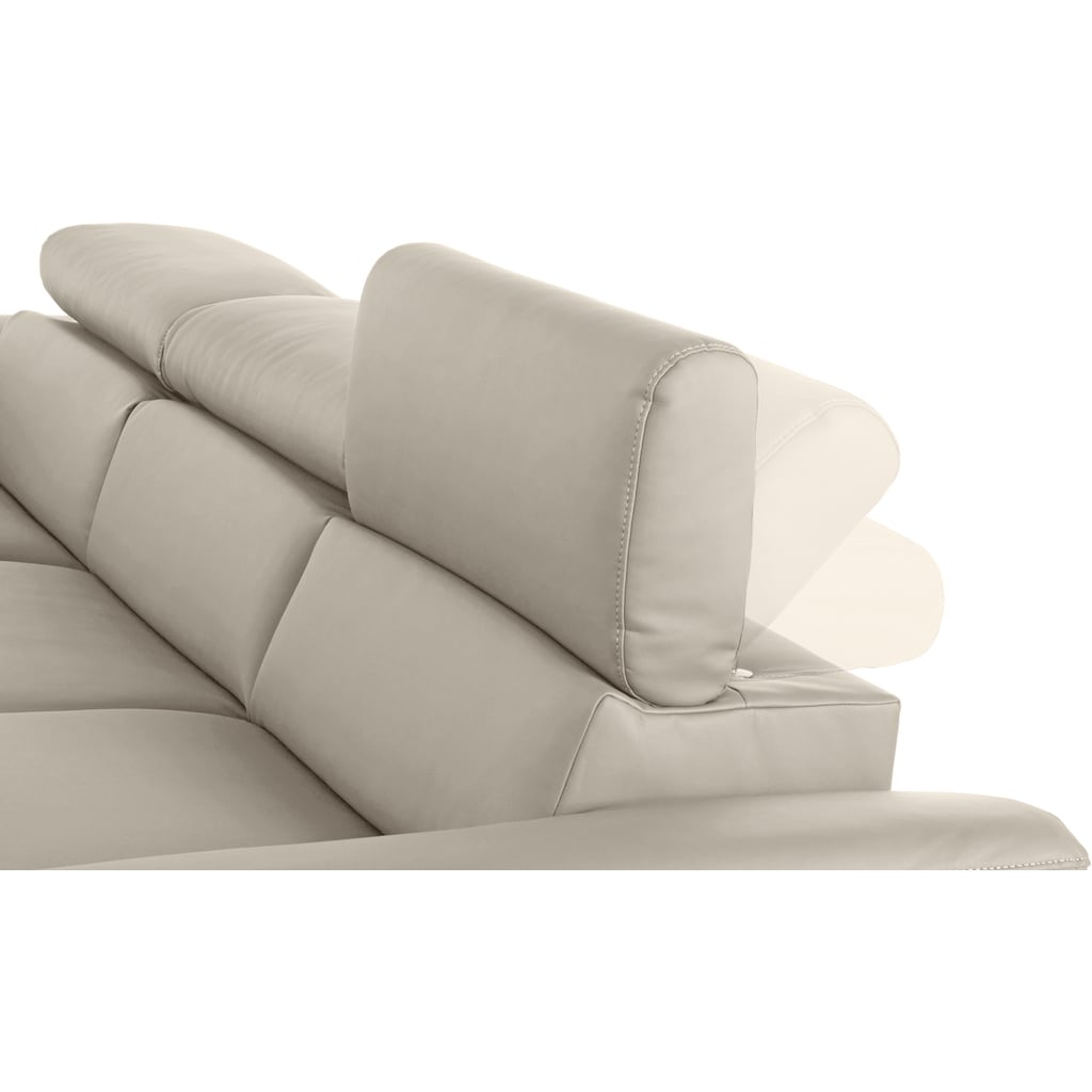 COTTA Ecksofa »Komaris«, mit Kopf- bzw. Rückenverstellung, wahlweise mit Bettfunktion, Bettkasten und RGB-LED-Beleuchtung