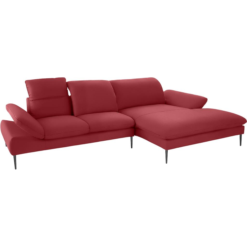 W.SCHILLIG Ecksofa »enjoy&MORE«, mit Sitztiefenverstellung, Füße schwarz pulverbeschichtet, Breite 340 cm