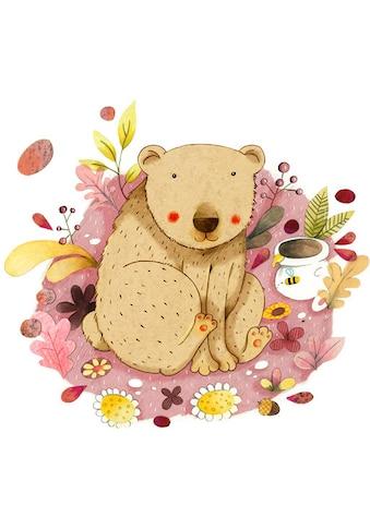 Wall-Art Wandtattoo »Bunte Tierwelt Bär mit Honigtopf« kaufen