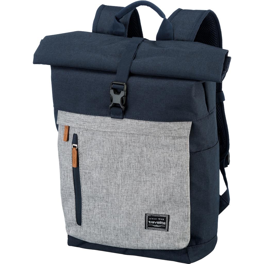 travelite Laptoprucksack »Basics Rollup, Marine/Grau«