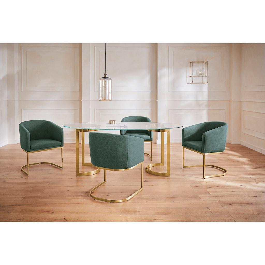 Guido Maria Kretschmer Home&Living Esstisch »Treelessy«, Gestell Edelstahl, 1 cm starke Tischplatte aus Glas