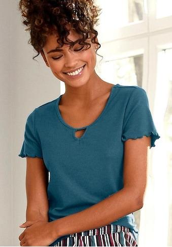 s.Oliver T-Shirt, aus geripptem Stoff mit Kräuselsäumen kaufen