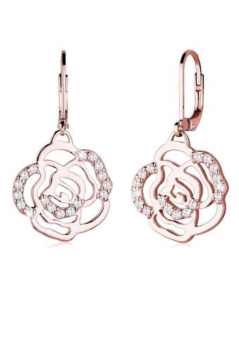 Elli Paar Ohrhänger »Blume Rose Feminin Elegant Zirkonia rosévergoldet« kaufen