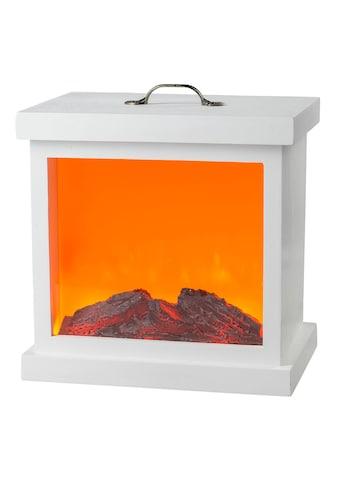 HGD Holz - Glas - Design LED - Holzkamin mit Kamineffekt und Metallverzierung für Netzbetri kaufen