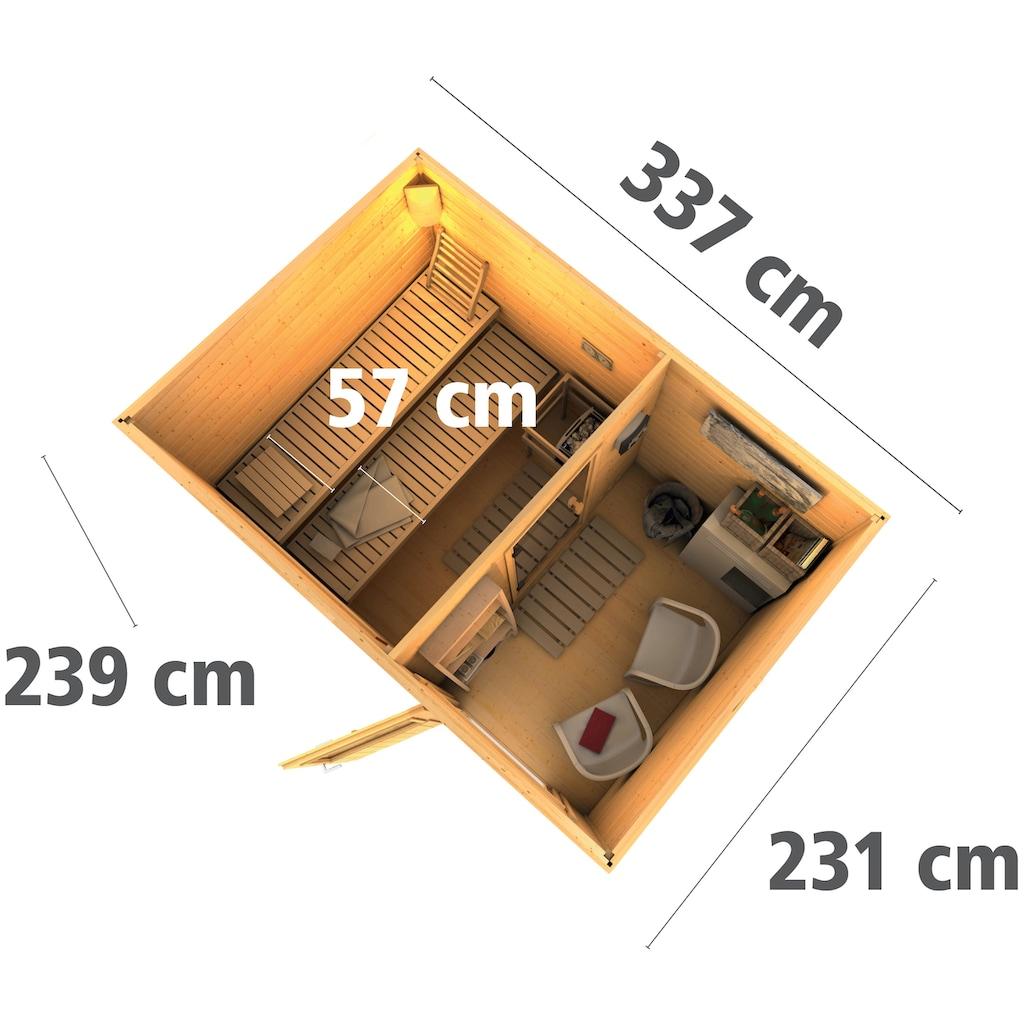 Karibu Saunahaus »Uwe 2«, 9-kW-Bio-Ofen mit ext. Steuerung