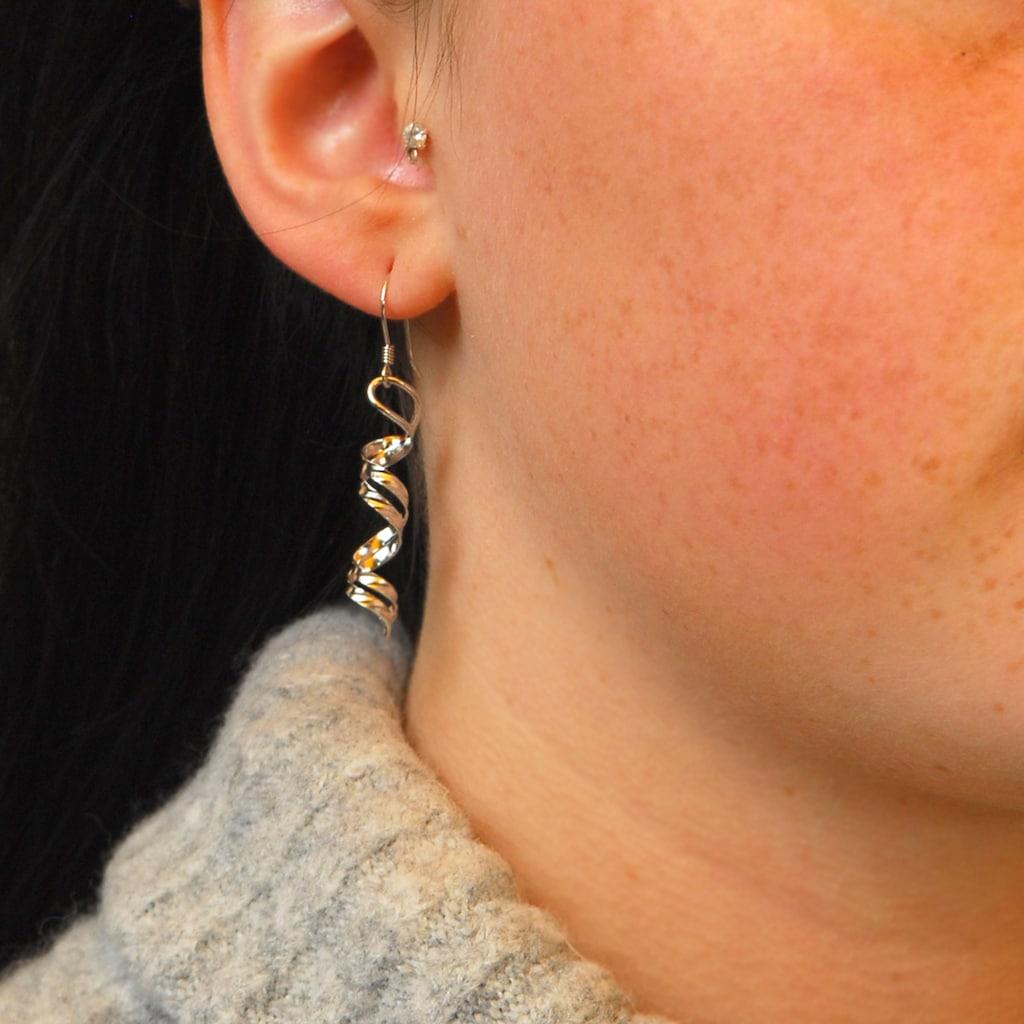 goldmaid Paar Ohrhänger 925 Sterlingsilber gedreht