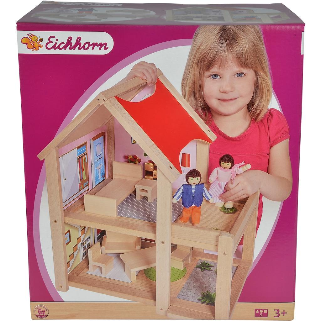 Eichhorn Puppenhaus, mit Einrichtung und Spielfiguren; Made in Europe