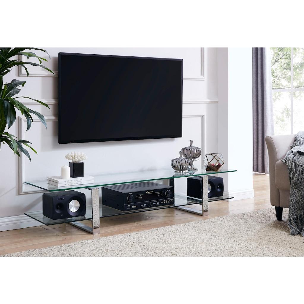 Leonique TV-Board »Colmar«, mit zwei Glasablageflächen Klarglas oder weiß Marmoroptik, Fernsehtisch mit Chromgestell
