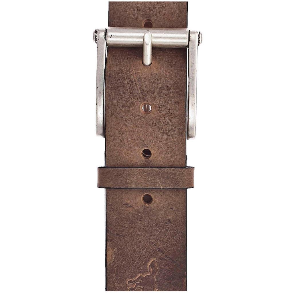 MUSTANG Ledergürtel, mit Logo-Prägung auf der Spitze