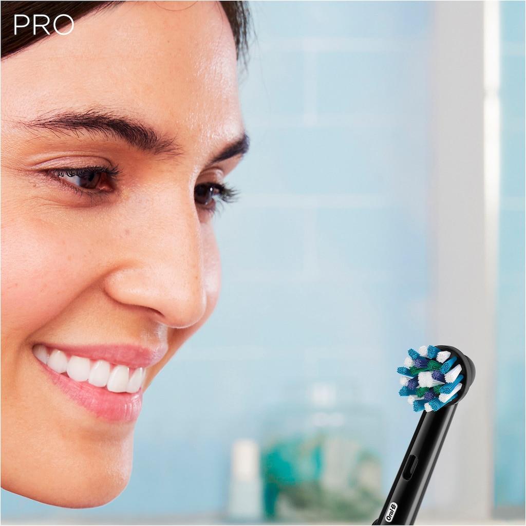 Oral B Elektrische Zahnbürste »PRO 2 2000 Black Edition«, 1 St. Aufsteckbürsten, Cross Action