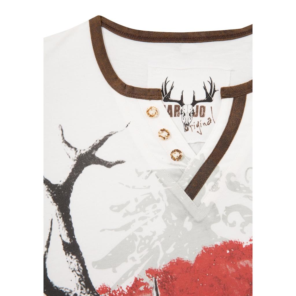 MarJo Trachtenshirt, Trachtenshirt Herren mit Hirschmotiv und Österreich Wappen