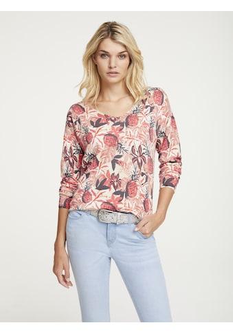 LINEA TESINI by Heine V-Ausschnitt-Pullover, mit floralem Dessin kaufen