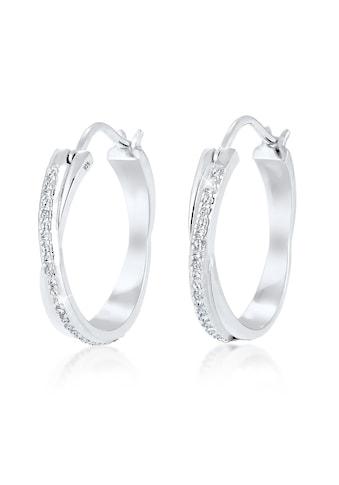 Elli Paar Creolen »Creole Verschlungen Swarovski® Kristalle Silber« kaufen
