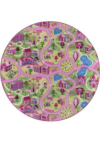 Andiamo Kinderteppich »Sweet Village«, rund, 7 mm Höhe, Straßen-Spielteppich,... kaufen