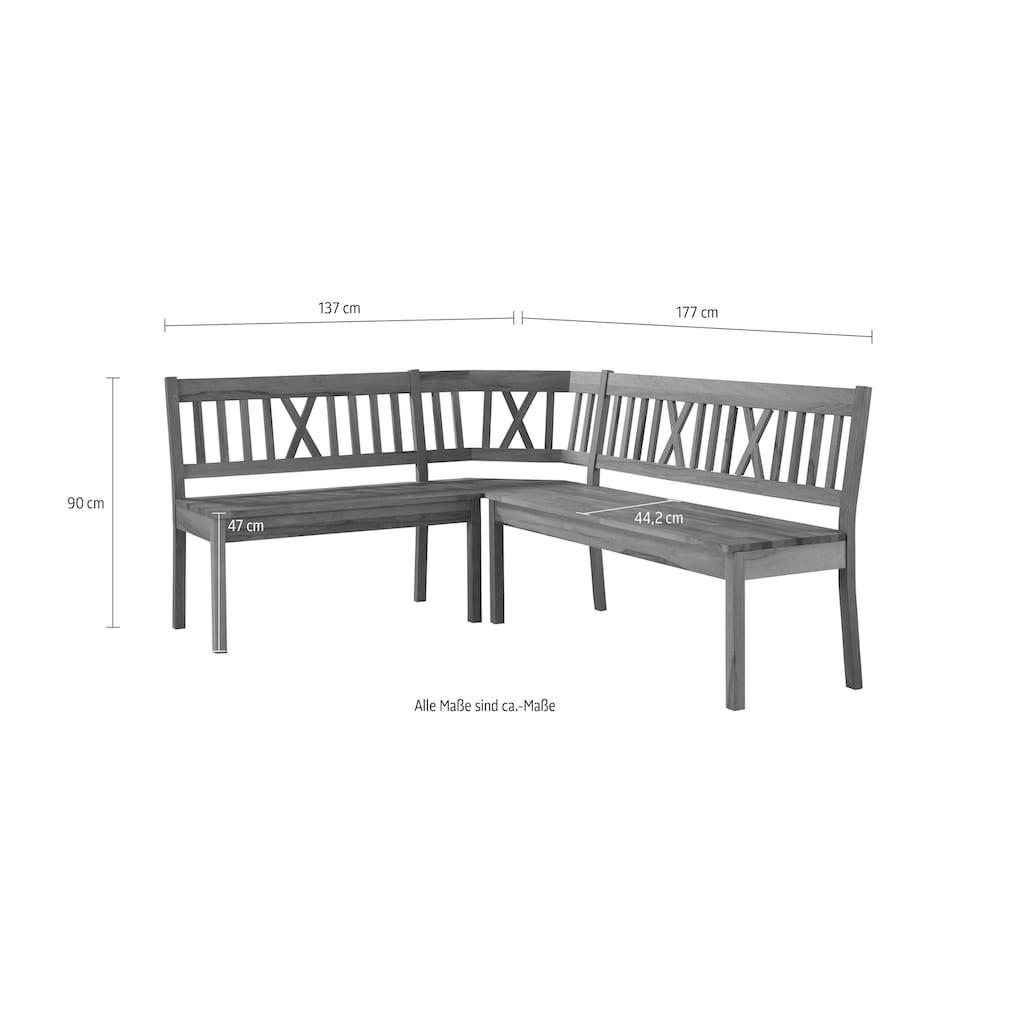 Premium collection by Home affaire Eckbank »Lukas«, mit Stauraum unter den Sitzflächen, wahlweise aus massiver Eiche oder Buche