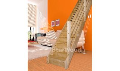STARWOOD Raumspartreppe »Korfu«, geschl. Stufen, gerade, Holz - Edelstahlgeländer rechts kaufen