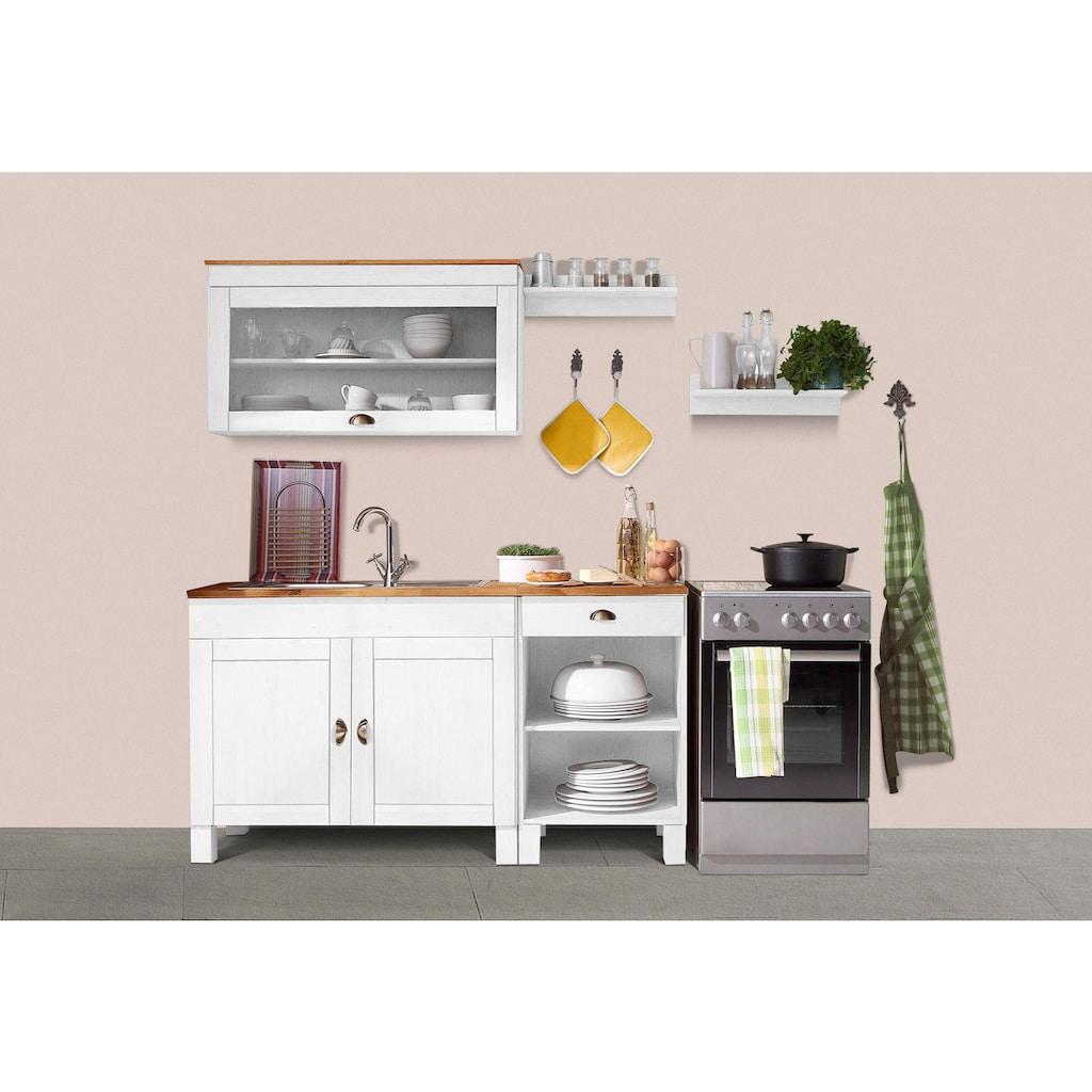 Home affaire Küchen-Set »Oslo«, (5 St.), ohne E-Geräte, Breite 150 cm, aus massiver Kiefer, 23 mm starke Arbeitsplatte, mit Metallgriffen, Landhaus-Küche