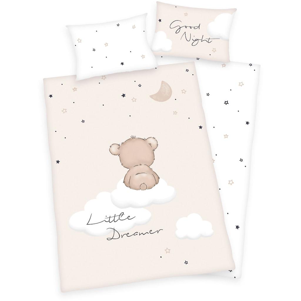 Baby Best Babybettwäsche »Little Dreamer«, mit niedlichem Teddy-Motiv und Schriftzug