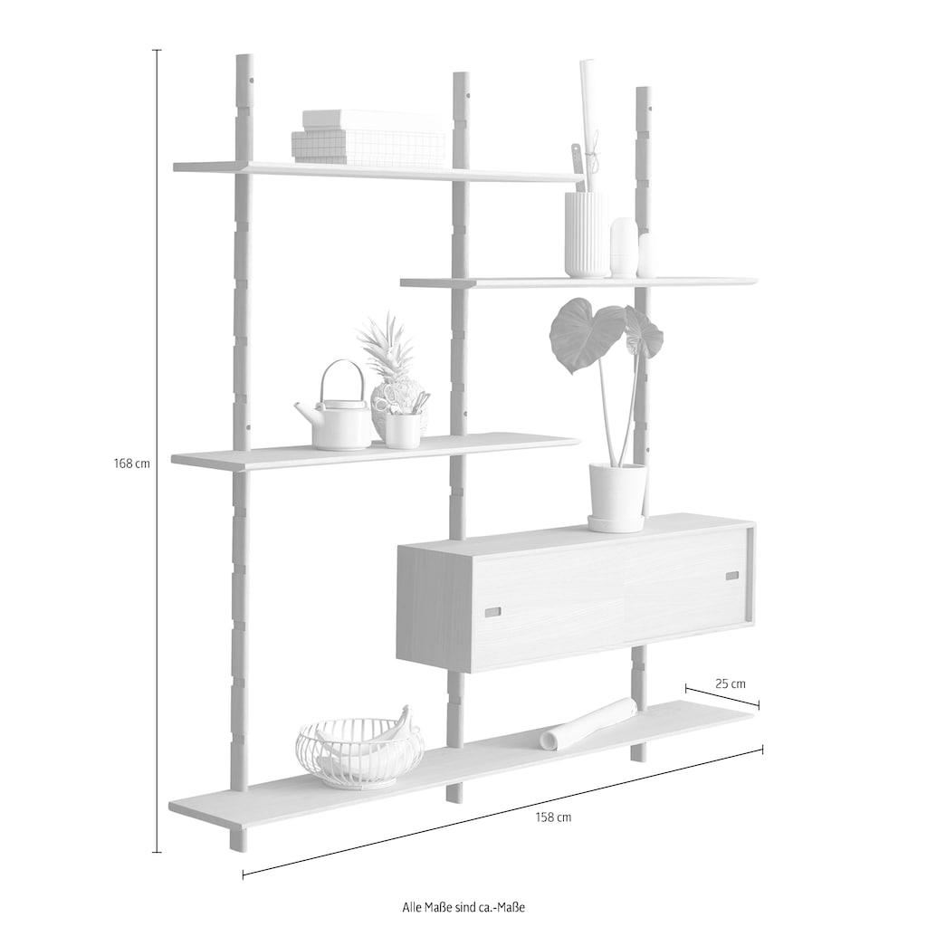 PBJ Wandregal »Less«, inklusive 1 kleinen Schrank mit Schiebetüren, Breite 158 cm