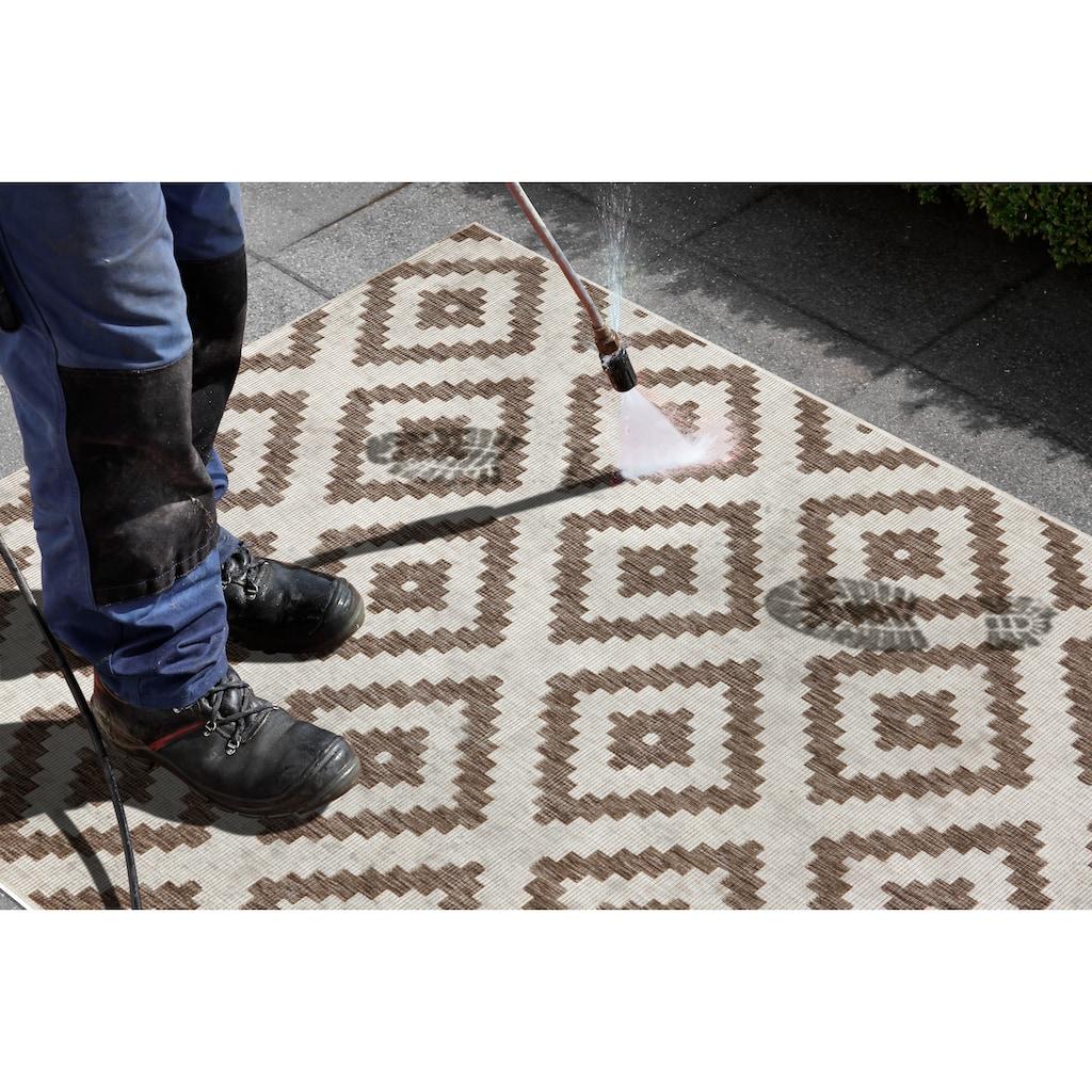 bougari Läufer »Malta«, rechteckig, 5 mm Höhe, Flachgewebe, In- und Outdoor geeignet, Rauten-Design, Für Terasse und Balkon, Flur und Diele