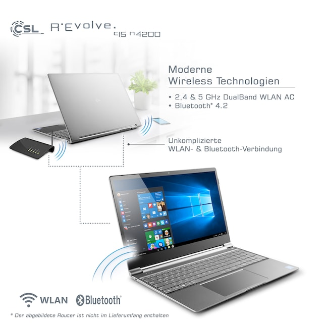 CSL Notebook im UltraSlim Design, 8GB RAM, Metallgehäuse »R'Evolve C15 / Windows 10«