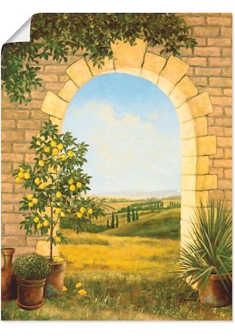 Artland Wandbild »Zitronenbaum vorm Torbogen II«, Fensterblick, (1 St.), in vielen... kaufen
