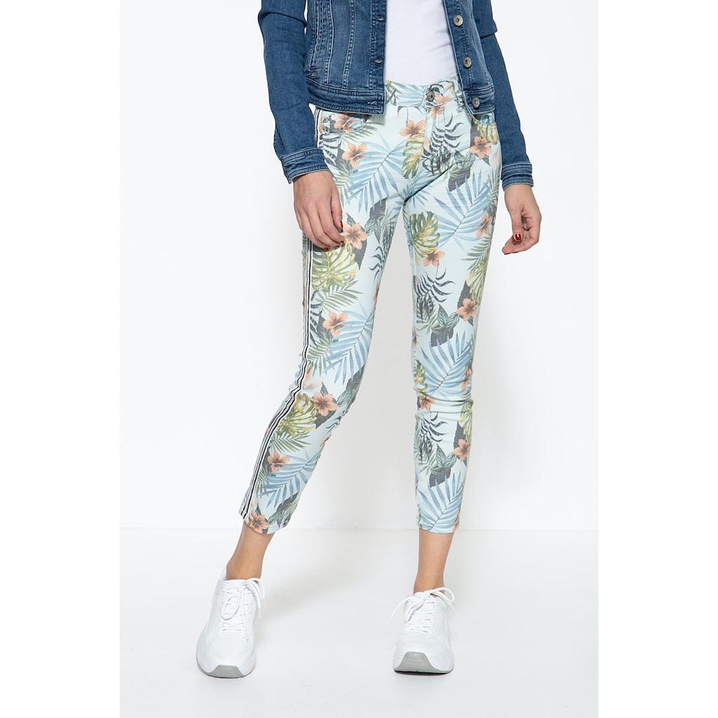 ATT Jeans 5-Pocket-Jeans »Leoni«, mit floralem Muster und seitlichen Glitzerstreifen