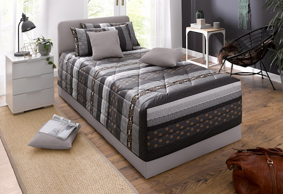Bett mit Bettkasten in Grau